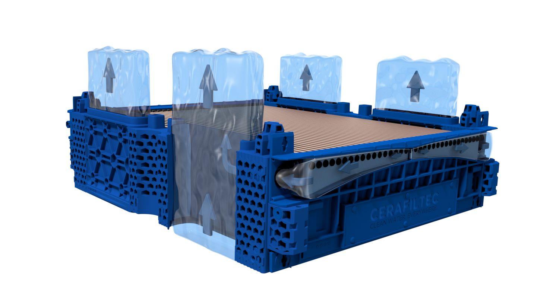 Ceramic flat sheet membrane - CERAFILTEC - Module water flow direction