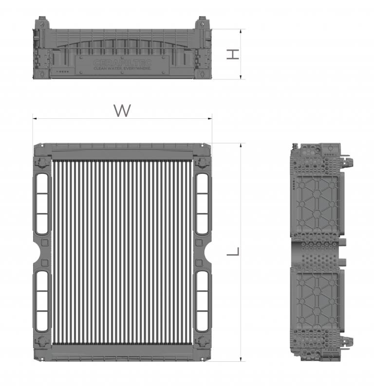 Ceramic flat sheet membrane - CERAFILTEC - Module dimensions
